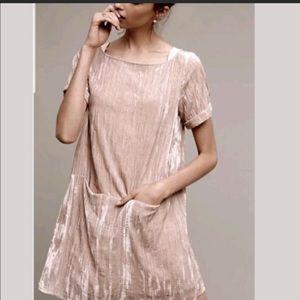 Anthropologie Crinkled Velvet Tunic dress small